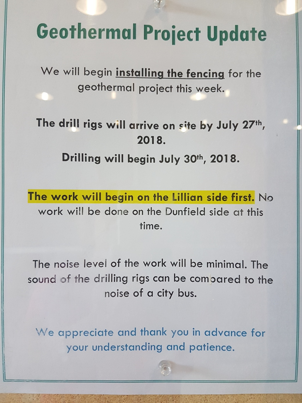 Geothermal Project Update July 27 '18